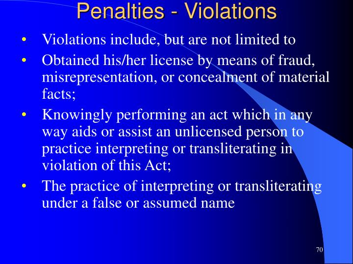 Penalties - Violations