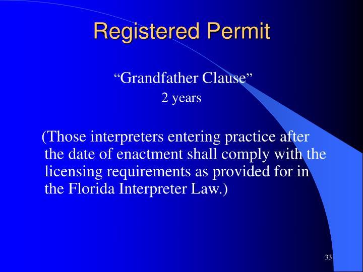 Registered Permit