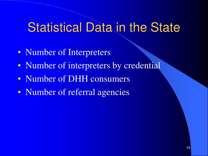 Statistical Data in the State