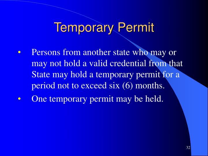 Temporary Permit