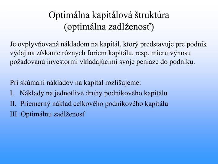 Optimálna kapitálová štruktúra