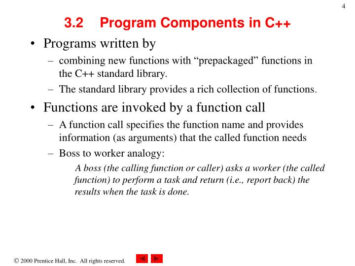 3.2	Program Components in C++