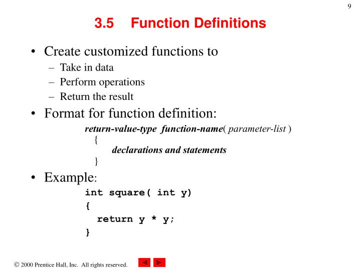 3.5	Function Definitions