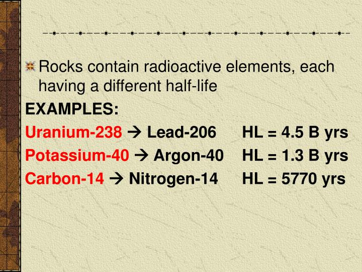 Rocks contain radioactive elements, each having a different half-life