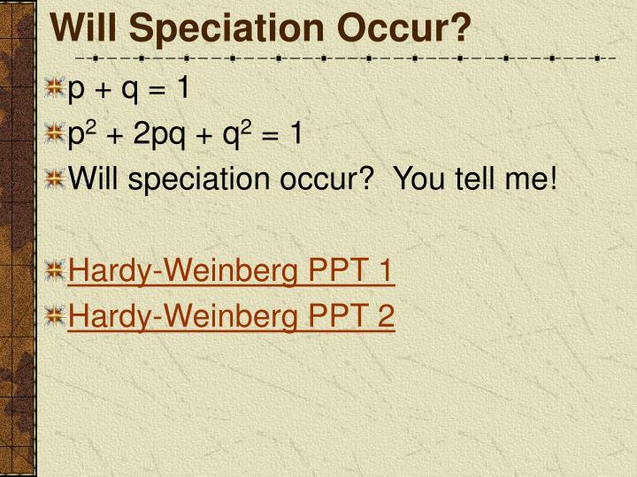Will Speciation Occur?