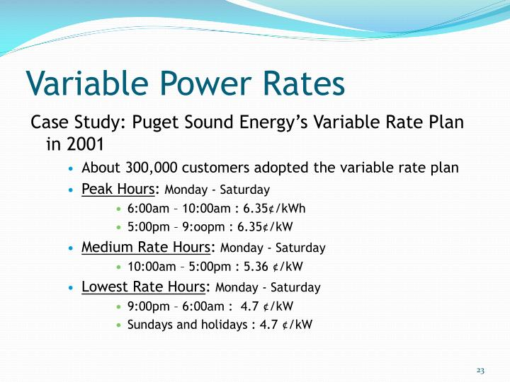 Variable Power Rates