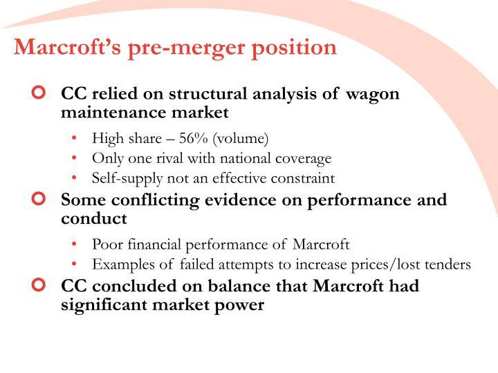 Marcroft's pre-merger position