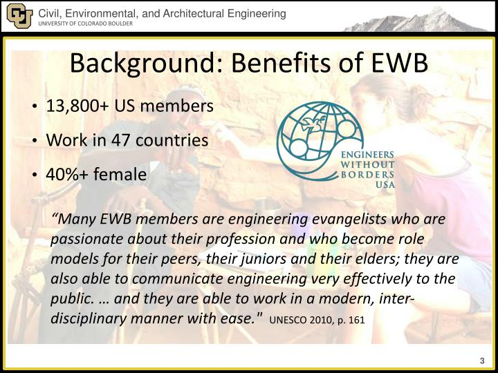 Background: Benefits of EWB
