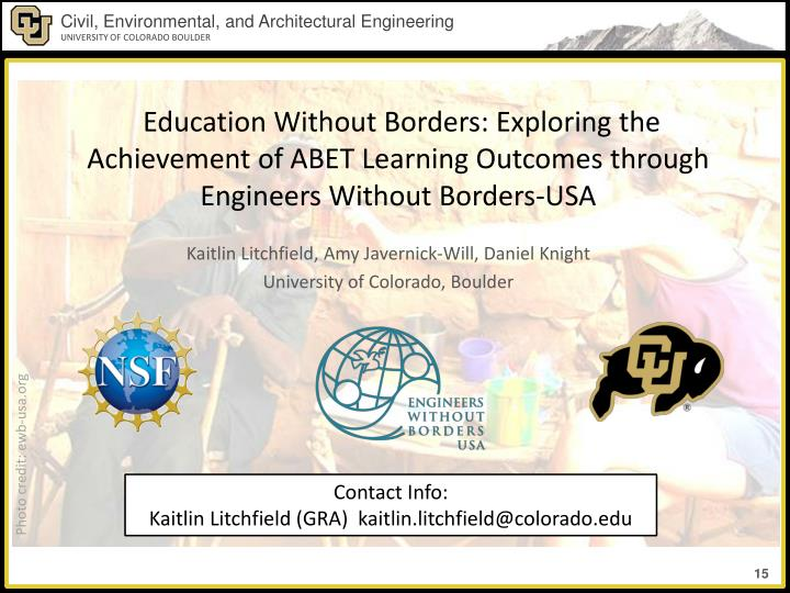 Education Without Borders: Exploring the Achievement of ABET Learning Outcomes through Engineers Without Borders-USA