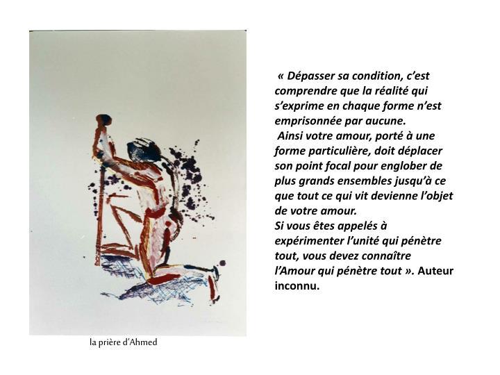 «Dépasser sa condition, c'est comprendre que la réalité qui s'exprime en chaque forme n'est emprisonnée par aucune.