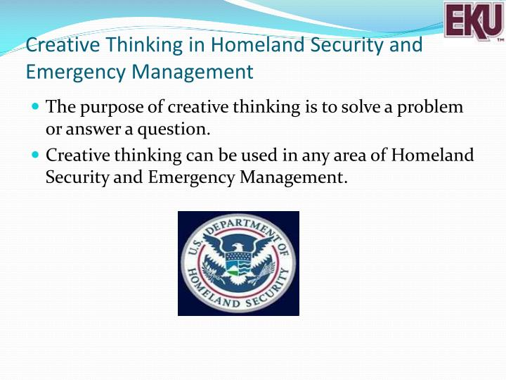 Creative Thinking in Homeland Security and Emergency Management