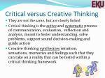 critical versus creative thinking
