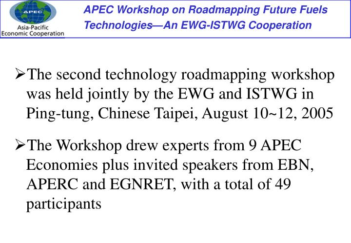 The second technology roadmapping workshop was held jointly by the EWG and ISTWG in Ping-tung, Chinese Taipei, August 10~12, 2005