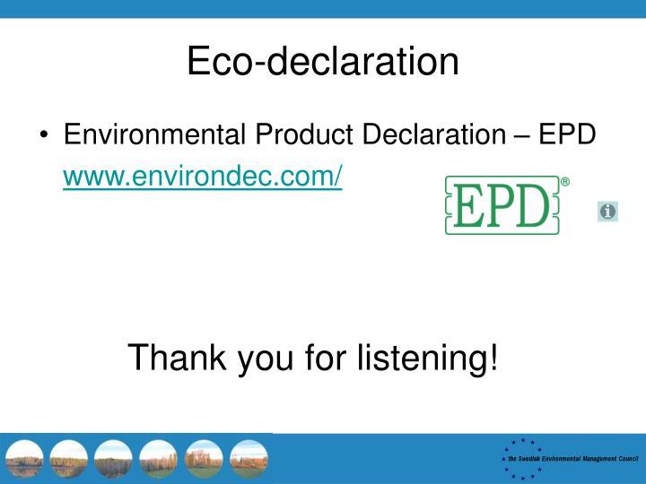 Eco-declaration