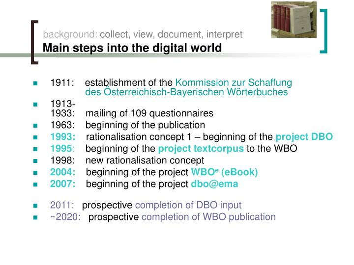 Background collect view document interpret main steps into the digital world