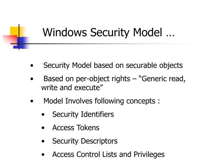 Windows Security Model …