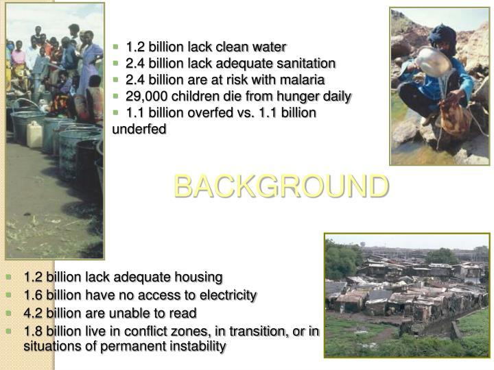 1.2 billion lack clean water