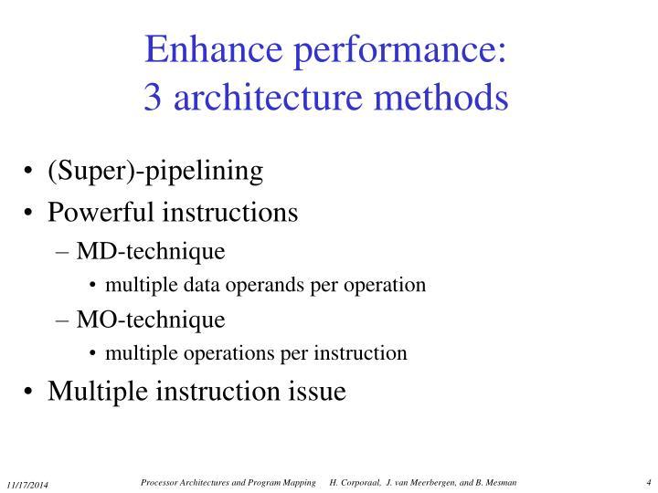 Enhance performance: