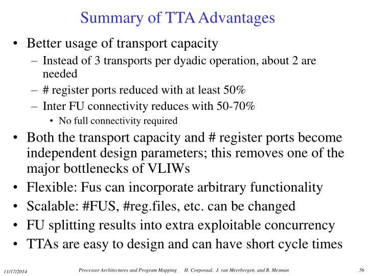 Summary of TTA Advantages