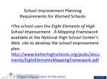school improvement planning requirements for warned schools