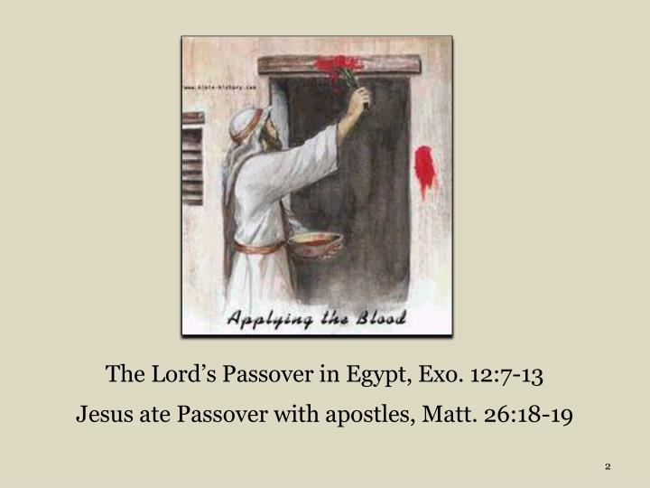 The lord s passover in egypt exo 12 7 13