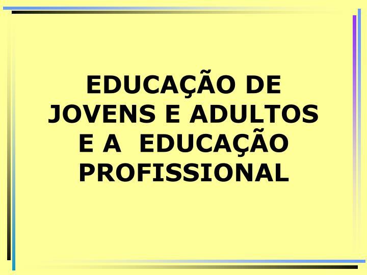 EDUCAÇÃO DE JOVENS E ADULTOS E A  EDUCAÇÃO PROFISSIONAL