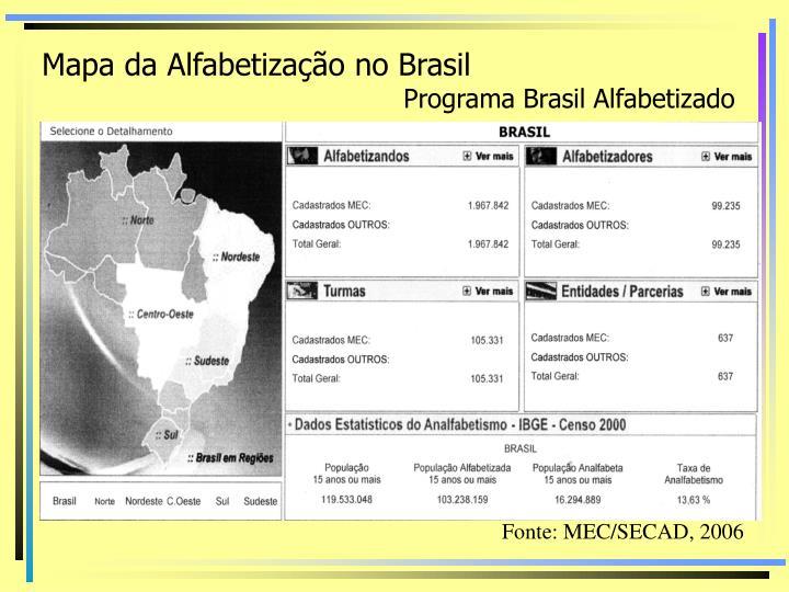 Mapa da Alfabetização no Brasil