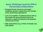 some challenges faced by epn in partnership collaborations