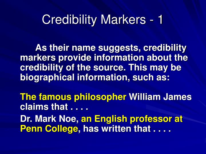 Credibility Markers - 1