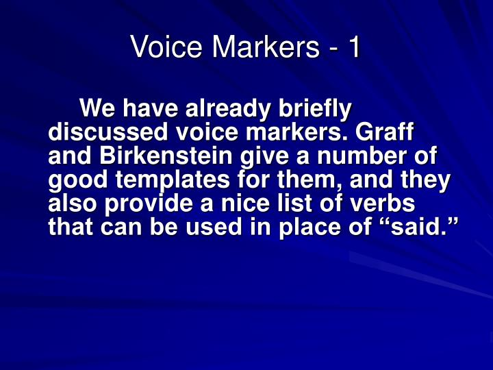 Voice Markers - 1