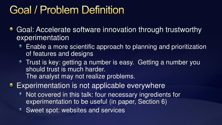 Goal / Problem Definition