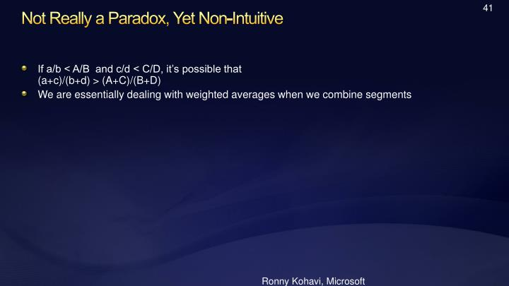 Not Really a Paradox, Yet Non-Intuitive