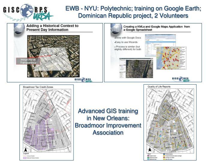 EWB - NYU: Polytechnic; training on Google Earth; Dominican Republic project, 2 Volunteers