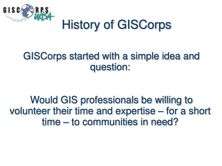 History of GISCorps