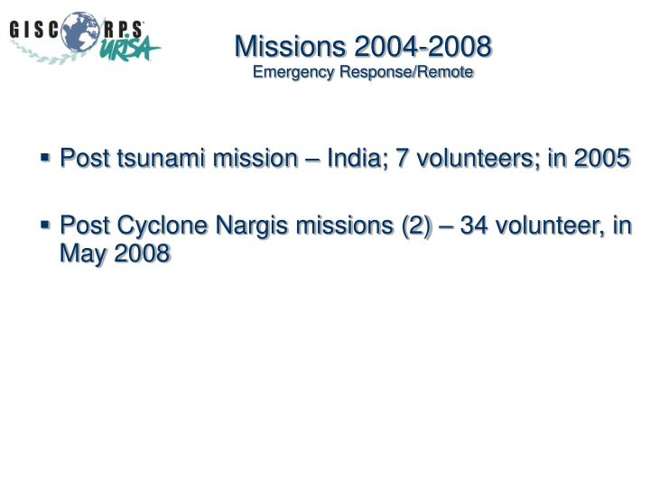 Missions 2004-2008