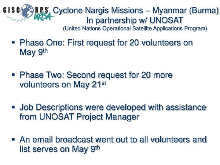 Cyclone Nargis Missions – Myanmar (Burma)