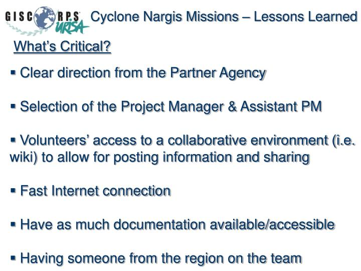 Cyclone Nargis Missions – Lessons Learned