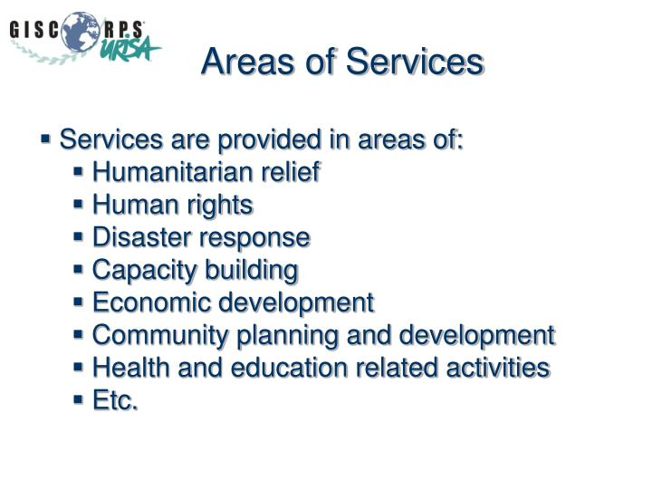 Areas of Services