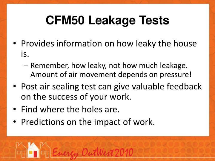 CFM50 Leakage Tests