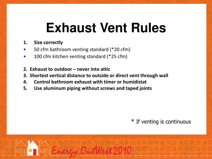 Exhaust Vent Rules