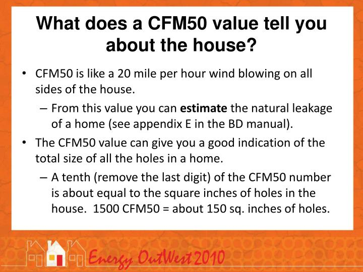 What does a CFM50 value tell you about the house?