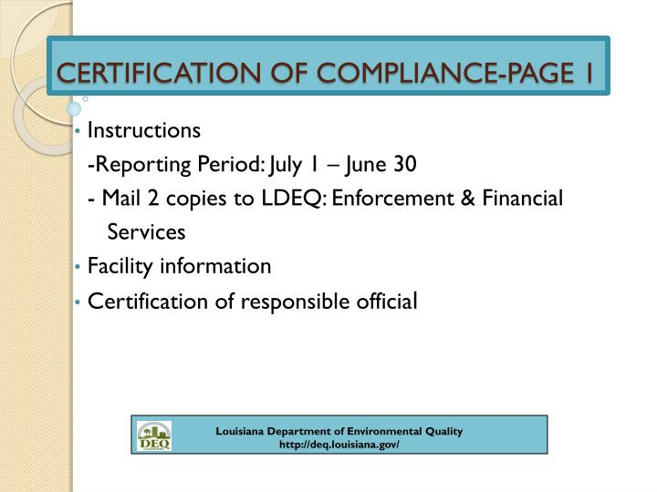 CERTIFICATION OF COMPLIANCE-PAGE 1