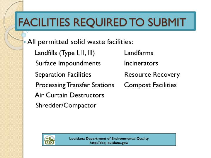 FACILITIES REQUIRED TO SUBMIT
