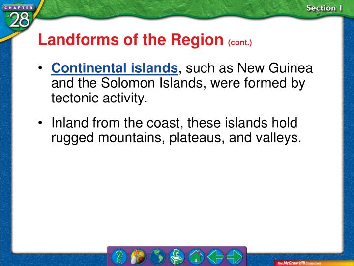 Landforms of the Region