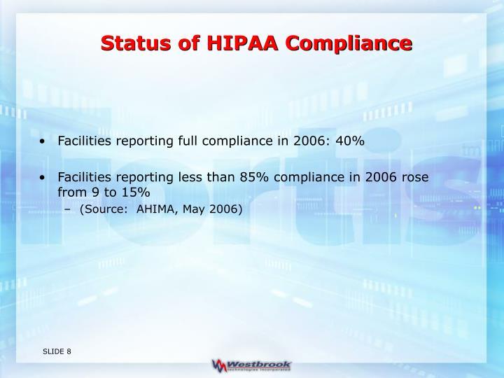 Status of HIPAA Compliance
