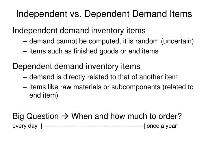 Independent vs. Dependent Demand Items