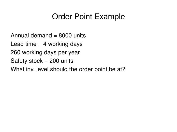 Order Point Example