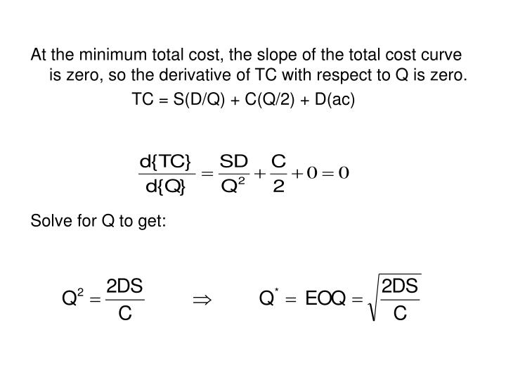 At the minimum total cost, the slope of the total cost curve is zero, so the derivative of TC with respect to Q is zero.