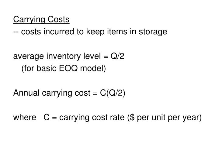 Carrying Costs