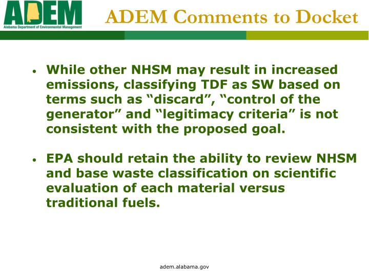 ADEM Comments to Docket
